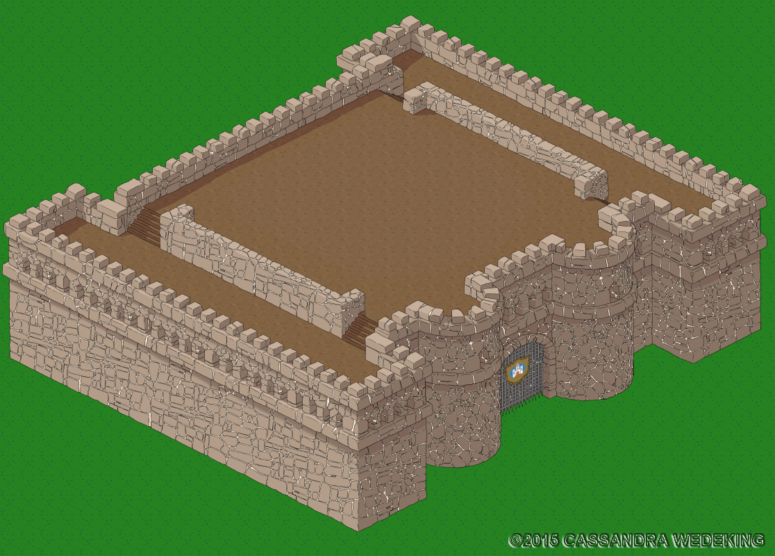 isometric view of a castle