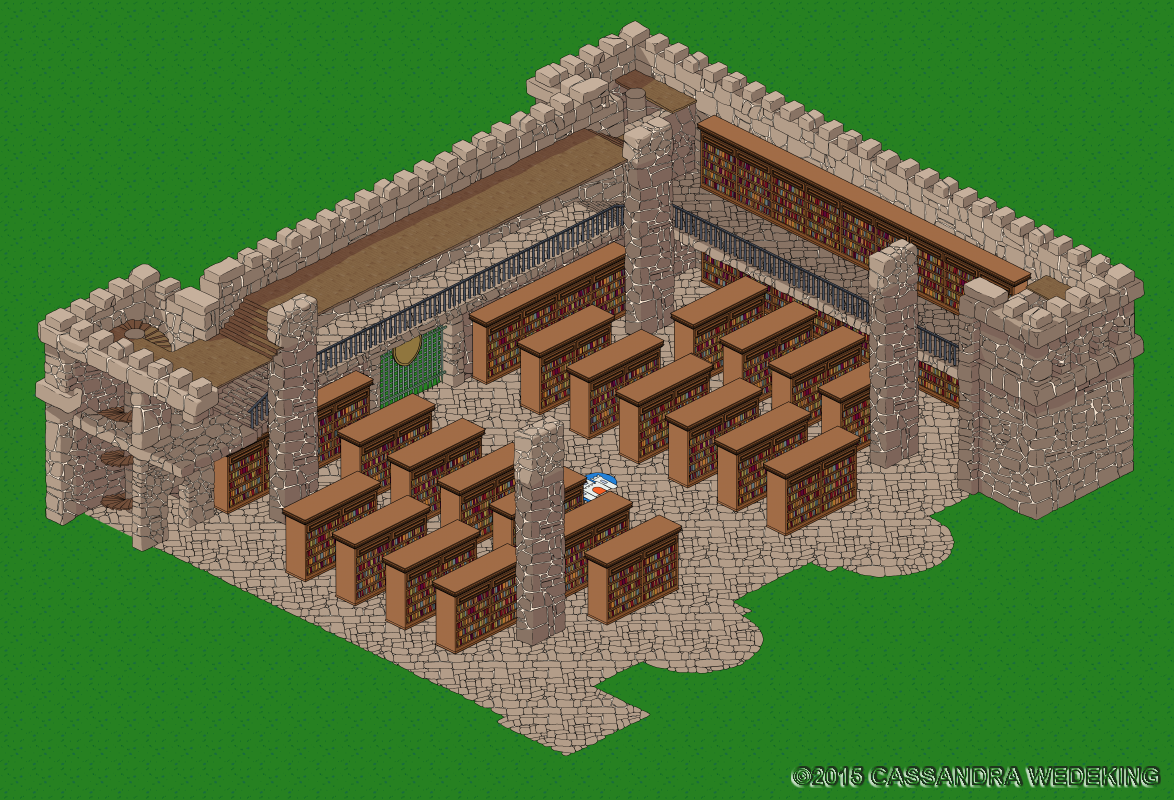 isometric view of a castle interior