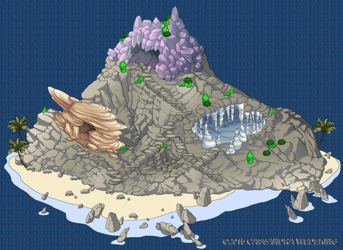 isometric view of an island with caves