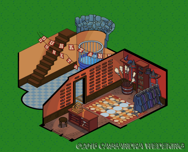 isometric view of a magic store interior