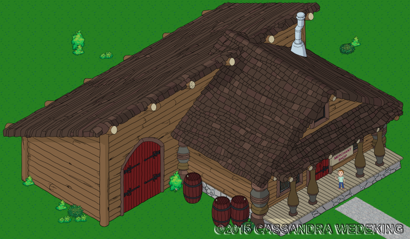 isometric view of a rustic mercantile