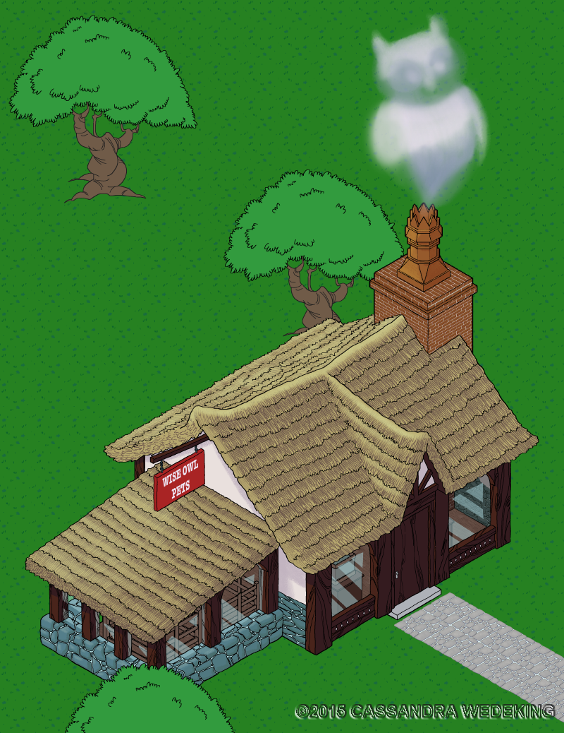 isometric view of an old fashioned petshop