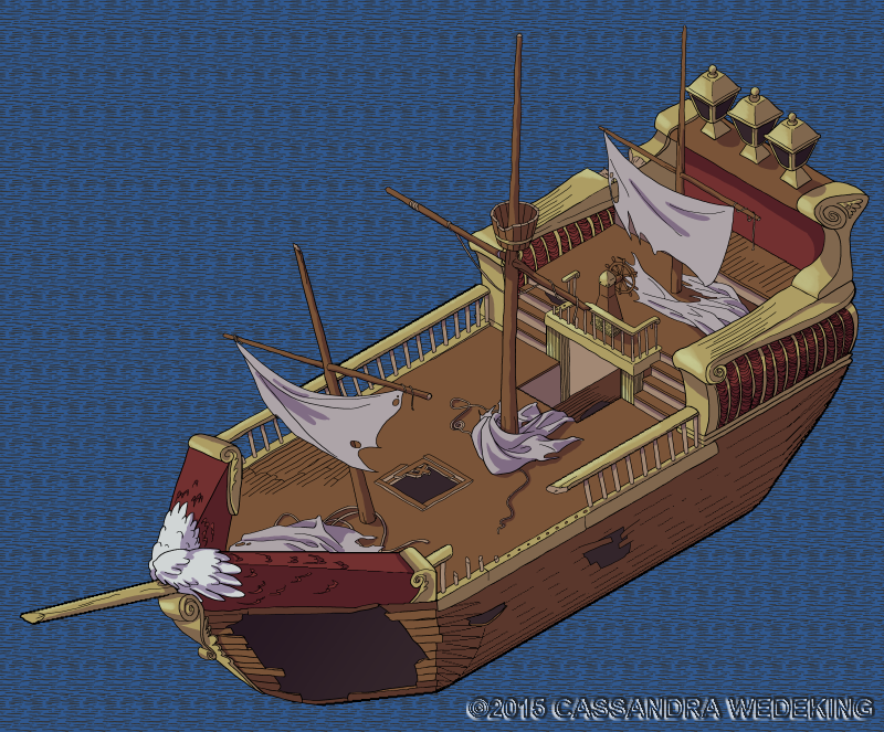 isometric view of a wrecked ship