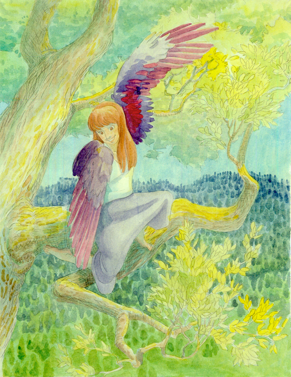 A young girl in a tree looks proudly at her new wings
