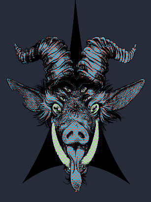 A chimera combination of boar and goat, with six eyes