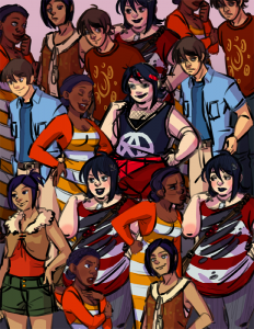a crowd of sprites for a visual novel